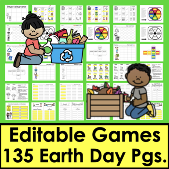 Earth Day Sight Word Games EDITABLE Use Any List of Words Year After Year