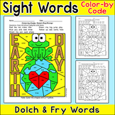 Earth Day Activities Color by Sight Words - Frog on Earth