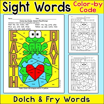 Earth Day Color by Sight Words - Frog on Earth
