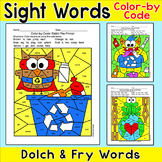 Earth Day Color by Sight Words Activities: Recycle Monster, Owl, Frog on Earth