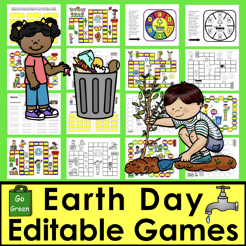 Earth Day EDITABLE Game Boards Sight Words Math Facts and More Set 1