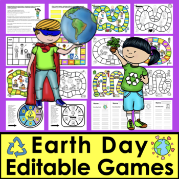 Earth Day EDITABLE Game Boards Sight Words Math Facts and More Set 2
