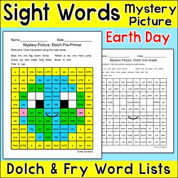 Earth Day Activities - Sight Words Mystery Picture