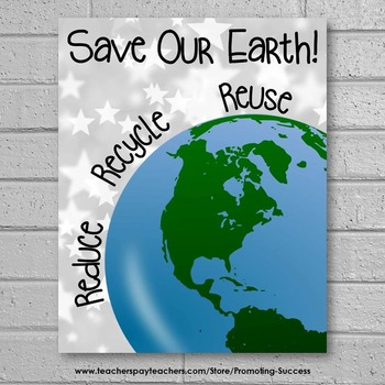 Earth Day Poster, Reduce Reuse Recycle Poster  8x10 or 16x20