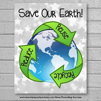 Earth Day Poster, Reduce Reuse Recycle, Science Classroom Decor  8x10 or 16x20