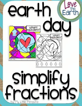 Earth Day Simplify Fractions Coloring page (no prep)