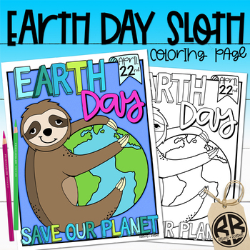Earth Day Sloth Coloring Page Activity