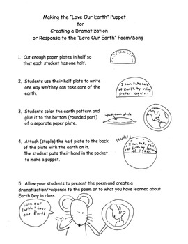 Earth Day Song/Poem Puppet Plans Response Dramatization CCore K-1