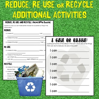 Earth Day Sort: Reduce, Reuse and Recycle Matching Cut and Paste Center Activity