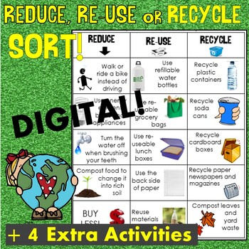 Earth Day Sort Reduce Reuse And Recycle Matching Cut And