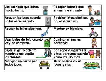 Earth Day Sorts in Spanish (el dia de la Tierra clasificar)