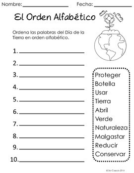 Earth Day Spanish Language Arts and Math Bundle (Early Elementary)