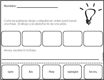 Earth Day (Spanish) Mixed-Up Sentences Cut and Paste