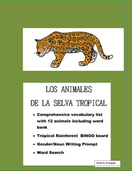 Rainforest Bingo in Spanish- Animales de la Selva- Gender/Noun Writing Prompt