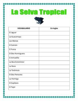 El Gran Capoquero-Tropical Rainforest Animal Project -Earth Day Writing Spanish