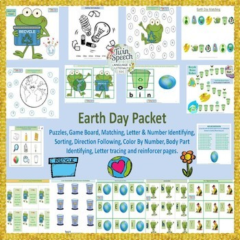 Earth Day Speech, Language & Literacy- Pre-k to 2nd grade