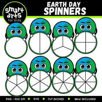 Earth Day Spinners Clip Art