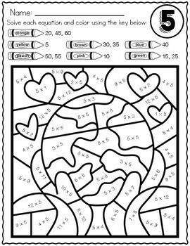 Earth Day \u0026 Spring Math Multiplication Color By Number Worksheets Long Multiplication Worksheets Multiplication Color By Number Worksheets #19
