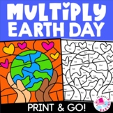 Distance Learning Earth Day Spring Multiplication Color by Number