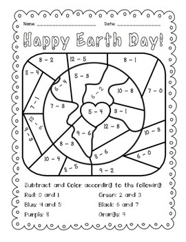 earth day subtract and color activity by the busy class tpt. Black Bedroom Furniture Sets. Home Design Ideas