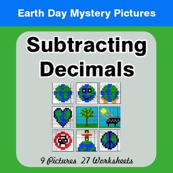 Earth Day: Subtracting Decimals - Color-By-Number Mystery Pictures