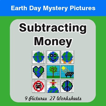 Earth Day: Subtracting Money - Color-By-Number Mystery Pictures