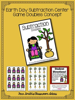 Earth Day Math A Quick and Easy to Prep Subtraction Doubles Center Game Freebie