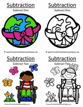 Earth Day Math Six Quick and Easy to Prep Subtraction Center Games Bundle