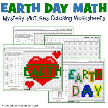 Earth Day Subtraction Worksheets and Coloring Pages