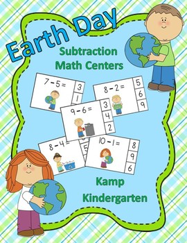 Earth Day Subtraction Math Centers (Minuends to 10)