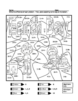 Earth Day Subtraction Practice Coloring Sheet