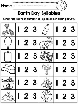 Earth Day Syllables Activity and Worksheet