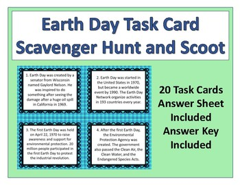 Earth Day Task Card Scavenger Hunt or Scoot