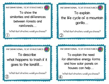 Earth Day: Task Cards for Informational Text Structures for 4th - 5th Grade