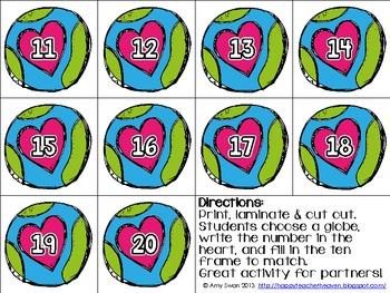 Earth Day Teen Frame (10 Frame) math center/station FREEBIE!!