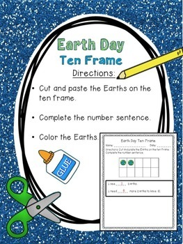 Earth Day Ten Frame & Word Problem Sentence