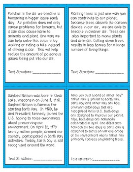 Earth Day Text Structure Task Cards with Answer Key