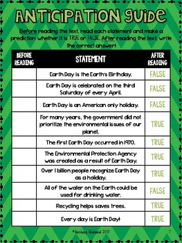 Earth Day Text and Activities *Upper Elementary - Middle School*