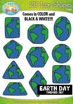 Earth Day Themed 2D Icon Shapes Clipart Set — Includes 20