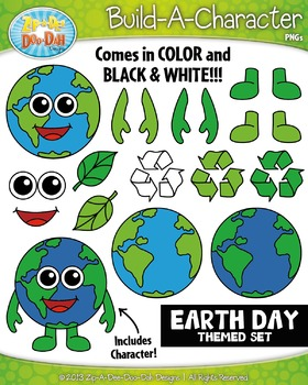 Earth Day Themed Build-A-Character Clipart Set — Includes