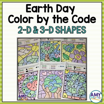 Earth Day Themed Color by Shape Kindergarten Math Worksheets by Amy