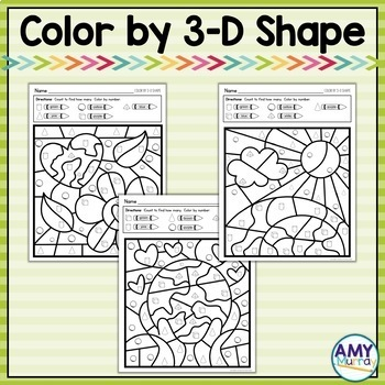 Earth Day Themed Color by Shape Kindergarten Math Worksheets