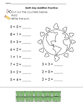 Earth Day Themed Differentiated Addition Set K.OA