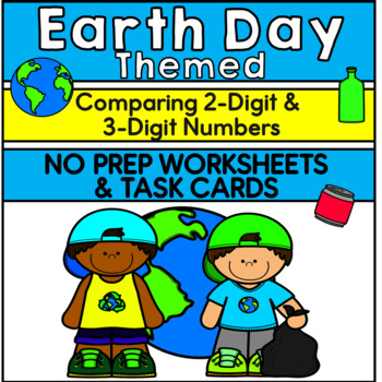 Earth Day-Themed Great Than Less Than - 2 digit and 3 digit numbers