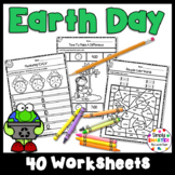 Earth Day Themed Kindergarten Math and Literacy Worksheets and Activities