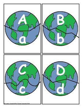 Earth Day Themed Letter Recognition Centers and Puzzles