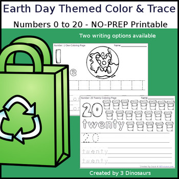 Earth Day Themed Number Color and Trace