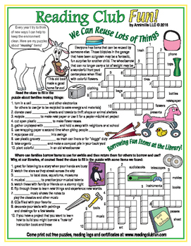 Earth Day Things We Can Reuse Crossword Puzzle