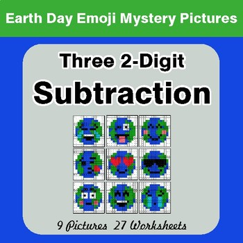 Earth Day: Three 2-digit Subtraction - Color-By-Number Mystery Pictures
