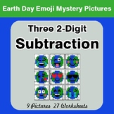 Earth Day: Three 2-digit Subtraction - Color-By-Number Mys